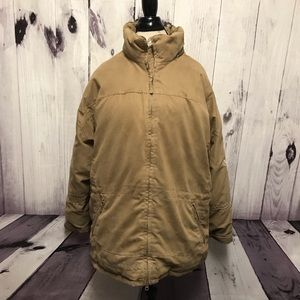 Cabelas Goose Down Brown Embroidered Coat Large